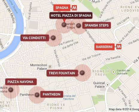 Piazza Spagna Map Hotel Piazza di Spagna Rome™   BEST RATES GUARANTEED